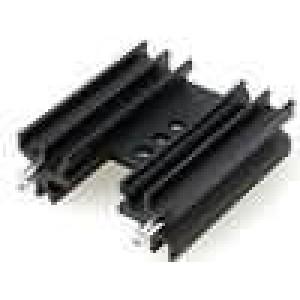 Chladič lisovaný H TO220 černá L:38mm W:34,5mm H:12,5mm