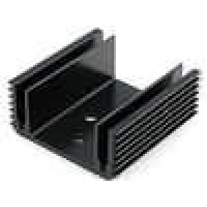 Chladič lisovaný U TO3 černá L:50mm W:50mm H:21mm hliník