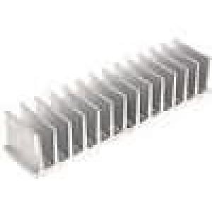 Chladič lisovaný žebrovaný L:40mm W:165mm H:35mm hliník