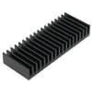 Chladič lisovaný žebrovaný černá L:37,5mm W:100mm H:15mm