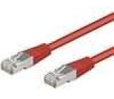 Síťový kabel F/UTP 5e propojení 1:1 licna CCA PVC červená 5m