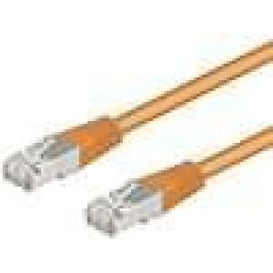 Síťový kabel SF/UTP 5e propojení 1:1 licna CCA PVC oranžová 1m
