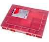 Zásobník - krabička s přihrádkami 370x295x58mm červená