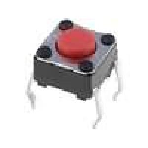 Mikrospínač 1-polohové SPST-NO 0,05A/24VDC THT 4,9N 6x6mm