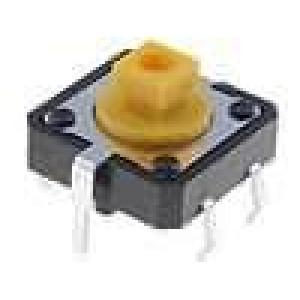Mikrospínač 1-polohové SPST-NO 0,05A/24VDC THT 2,55N 12x12mm