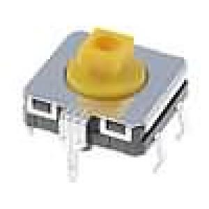 Mikrospínač 1-polohové SPST-NO 0,05A/24VDC THT 3,43N 12x12mm