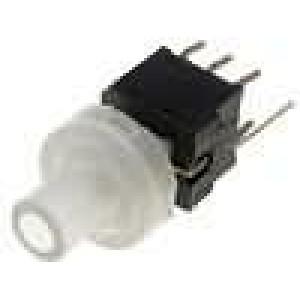 Mikrospínač 2 polohy DPDT 0,1A/30VDC THT LED bílá 1,5N ON-ON