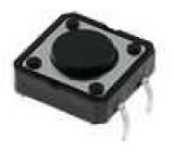 Mikrospínač 1-polohové SPST-NO 0,05A/12VDC THT 1,6N 12x12mm