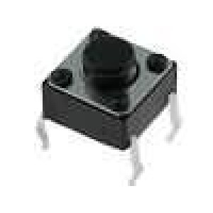Mikrospínač 1-polohové SPST-NO 0,05A/12VDC THT 1N 6x6mm 5mm