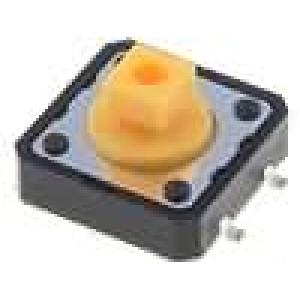 Mikrospínač 1-polohové SPST-NO 0,05A/12VDC SMT 1,6N 12x12mm