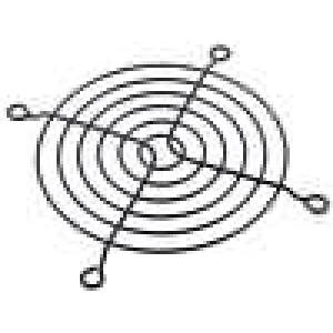 Mřížka 92x92mm kov upevnění šroubem barva černá