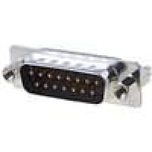 Zásuvka D-Sub 15 PIN vidlice západka PCB přímý THT UNC4-40