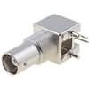 Zásuvka BNC zásuvka úhlové 90° 50Ω THT polyetylén zlacený