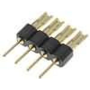 Redukce kolíkové 4 PIN přímý 2,54mm THT, pájení 1x4 zlacený
