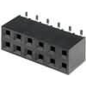 Zásuvka kolíkové zásuvka PIN:12 svislý 2,54mm SMT 2x6
