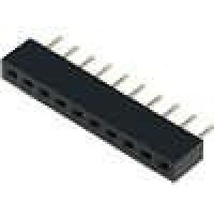 Zásuvka kolíkové zásuvka 10 PIN přímý 2mm THT 1x10 dél.2,5mm