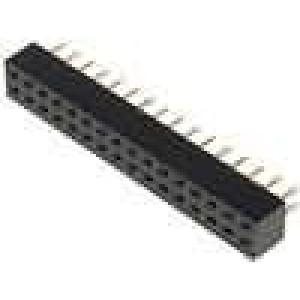 Zásuvka kolíkové zásuvka PIN:32 přímý 2mm THT 2x16 dél.2,5mm