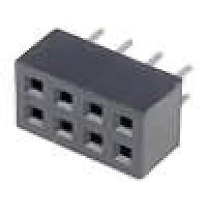 Zásuvka kolíkové zásuvka 8 PIN přímý 2mm THT 2x4 dél.2,5mm