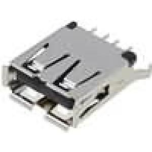 Zásuvka USB A na plošný spoj THT 4 PIN přímý
