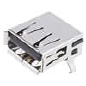 Zásuvka USB A na plošný spoj THT 4 PIN úhlové 90°
