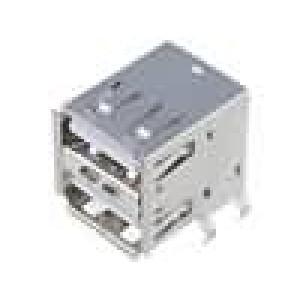 Zásuvka USB A na plošný spoj THT úhlové 90° dvojité