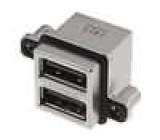 Zásuvka USB A MUSB na plošný spoj, do panelu, šroubovací THT
