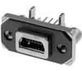 Zásuvka USB B mini MUSB na PCB, do panelu, přišroubováním THT