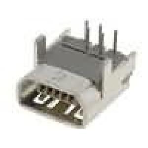 Zásuvka USB AB mini na plošný spoj THT 5 PIN úhlové 90°