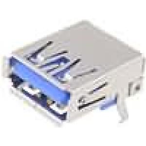 Zásuvka USB A na plošný spoj THT úhlové 90° V USB 3.0