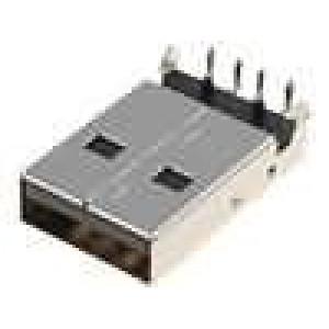 Zástrčka USB A THT úhlové 90° 1,5A Kontakty fosforový bronz