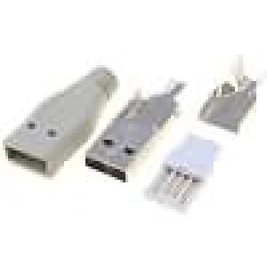 Zástrčka USB A na kabel pájení s krytkou