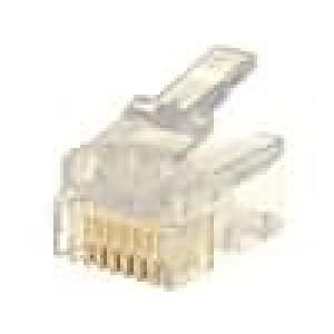 Konektor RJ12 zástrčka 6 PINKat:3 zlacený 24-26AWG IDC