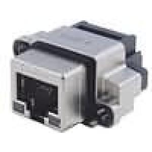 Konektor RJ45 zásuvka UL94V-0 IP68 THT do panelu úhlové 90°