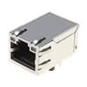 Konektor RJ45 zásuvka 8 PIN Kat:5e s diodou LED THT