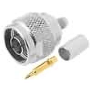 Zástrčka N vidlice přímý 50Ω H155 krimpovací na kabel teflon