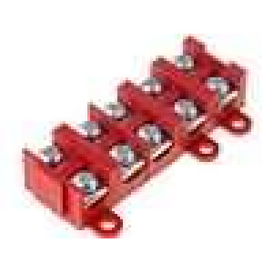 Svorkovnice póly:5 šroubová svorka 1,5-4mm2 červená 380V