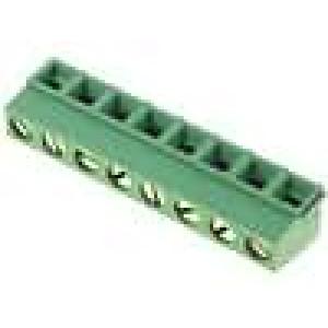 Svorkovnice do plošného spoje úhlové 90° 5mm póly:8 30÷16AWG