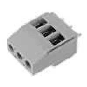Svorkovnice úhlové 90° 2,5mm2 5mm 3 PIN pocínovaný 20A šedá