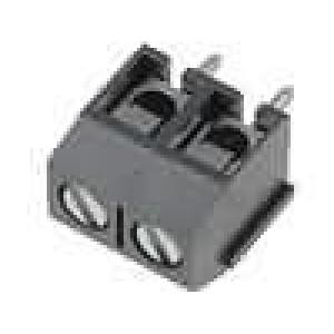 Svorkovnice úhlové 90° 1,5mm2 5mm póly:2 pocínovaný 15A šedá