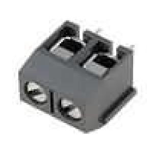Svorkovnice úhlové 90° 2,5mm2 5mm póly:2 pocínovaný 15A šedá