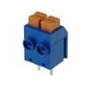 Svorkovnice s tlačítkem úhlové 90° 1mm2 5mm póly:2 8A modrá
