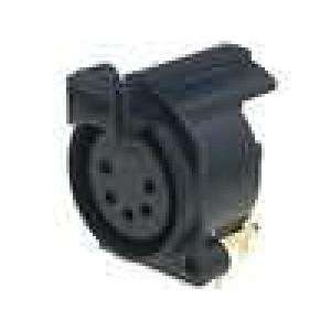 Zásuvka XLR zásuvka 5 PIN úhlové 90° s tlačítkem PUSH THT