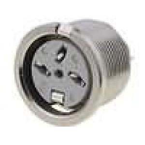 Zásuvka DIN zásuvka 3 PIN vývody 180° THT stříbřený