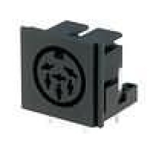 Zásuvka DIN zásuvka 6 PIN vývody 240° úhlové 90° THT