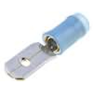 Konektor plochý 6,3mm 0,8mm kolík 1-2,5mm2 krimpovací modrá