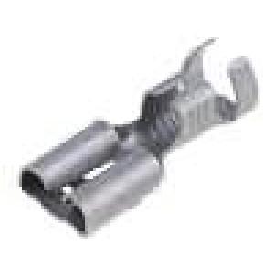 Konektor plochý 6,3mm 0,8mm zásuvka 3-6mm2 krimpovací mosaz
