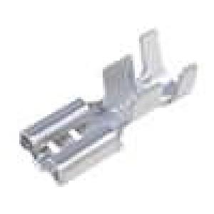 Konektor plochý 6,3mm 0,8mm zásuvka 4-6mm2 krimpovací mosaz