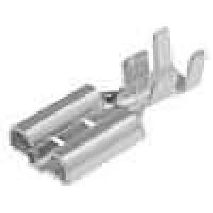 Konektor plochý 9,5mm 1,2mm zásuvka 4-6mm2 krimpovací mosaz