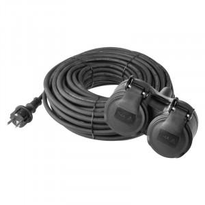 Prodlužovací kabel spojka 15m 2Z 3x 1,5mm, guma, IP44 černý