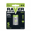 Alkalická baterie RAVER 9V (6LF22)